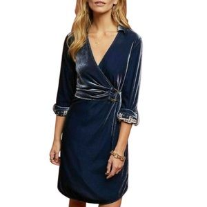 NEW Anthropologie Maeve Blue Velvet Shirtdress